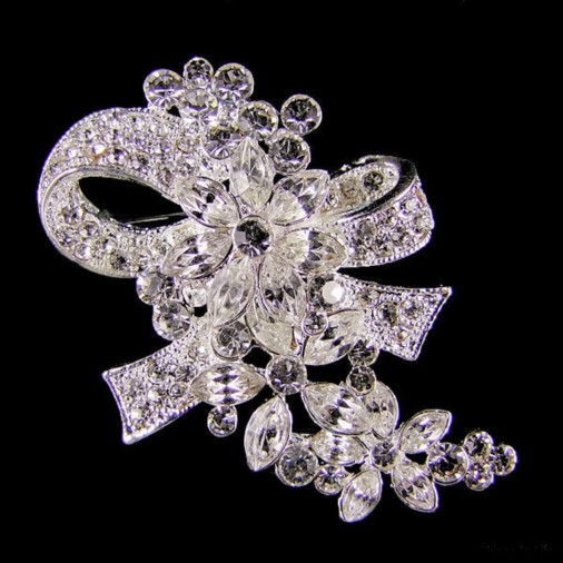 Crystal Bow & Flower Brooch