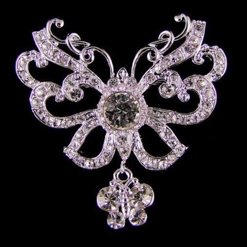 Double Butterfly Crystal Brooch