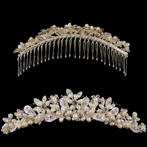 Michelle Pearl & Crystal Wedding Comb Tiara (Silver)