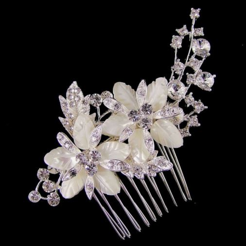 Claire Flower Crystal Wedding Hair Comb 9cm