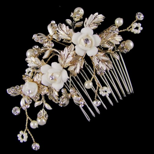 Philippa Flower & Butterfly Bridal Hair Comb 9cm (Gold)