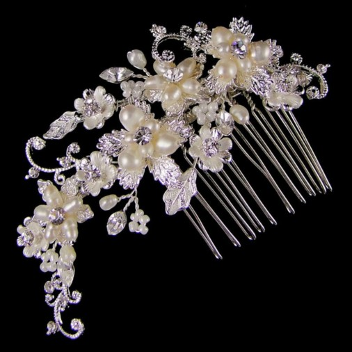 Jeanette Pearl & Diamante Wedding Hair Comb (Silver)
