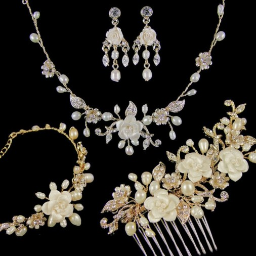 Marina Complete Wedding Jewellery Set (Gold)
