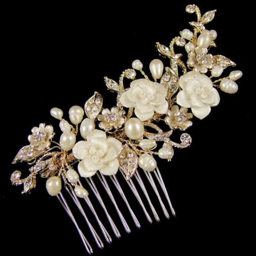 Marina Flower & Pearl Wedding Hair Comb 10cm (Gold)