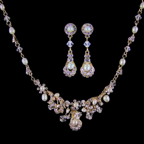 Alexandra Crystal & Pearl Bridal Necklace Set (Gold/Ivory)