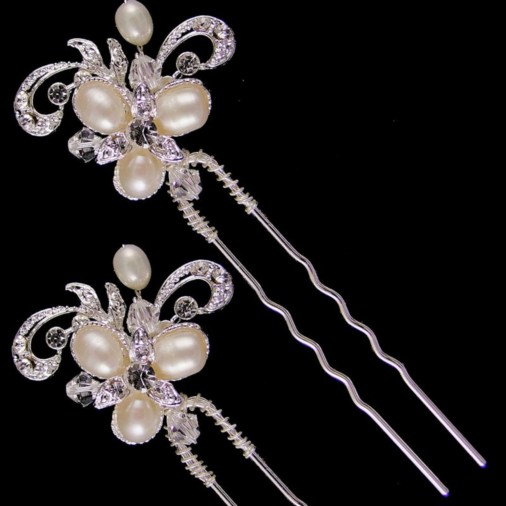 Deirdre Pearl Bridal Hair Pins (Silver) 2-Pack