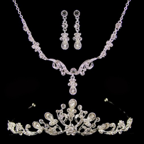 Diana Diamante Wedding Jewellery Set (Silver)