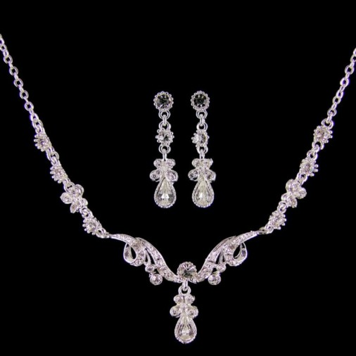 Diana Diamante Necklace Set (Silver)