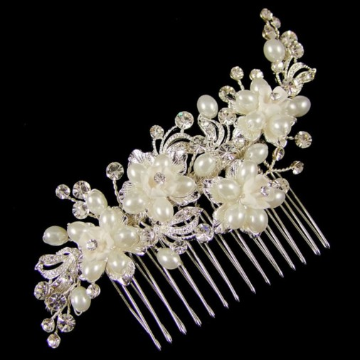 Beatrice Wedding Hair Comb 11cm (Silver/White)