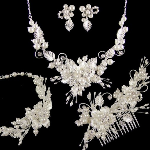 Grace Complete Wedding Jewellery Set (Silver)
