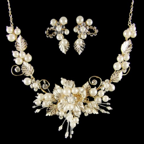 Grace Pearl & Leaf Wedding Jewellery Set (Gold)