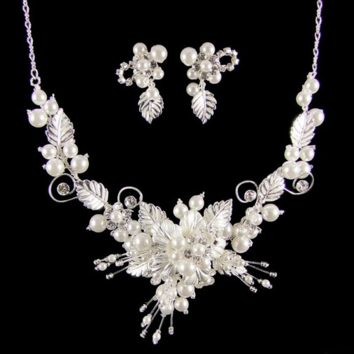 Grace Pearl & Leaf Wedding Jewellery Set (Silver)