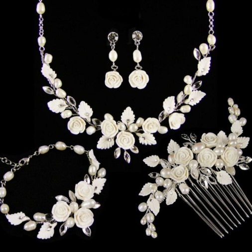 Lucia Flower & Pearl Complete Wedding Jewellery Set