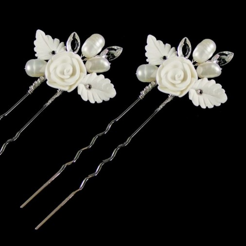 Lucia Flower & Pearl Wedding Hair Pin 2-Pack
