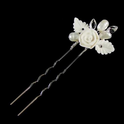 Lucia Flower & Pearl Wedding Hair Pin