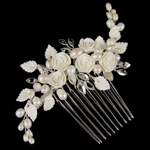 Lucia Flower & Pearl Wedding Hair Comb 10cm