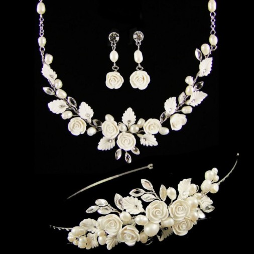 Lucia Flower & Pearl Wedding Jewellery Set