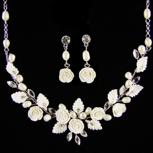 Lucia Bridal Flower & Pearl Necklace Set