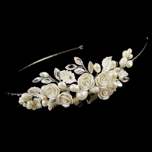 Lucia Flower & Pearl Bridal Side Tiara