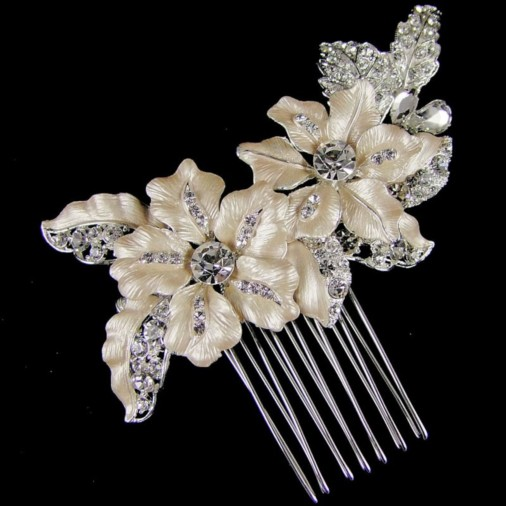 Adriana Flower Wedding Hair Comb 9cm (Silver)