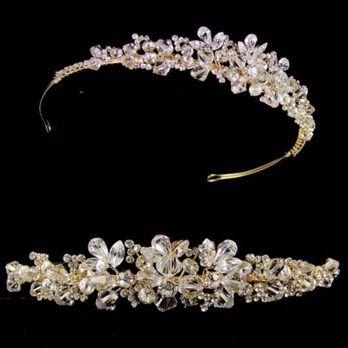Annelise Crystal & Gold Wedding Tiara