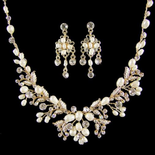 Hermia Gold Pearl & Crystal Bridal Necklace Set (Gold)