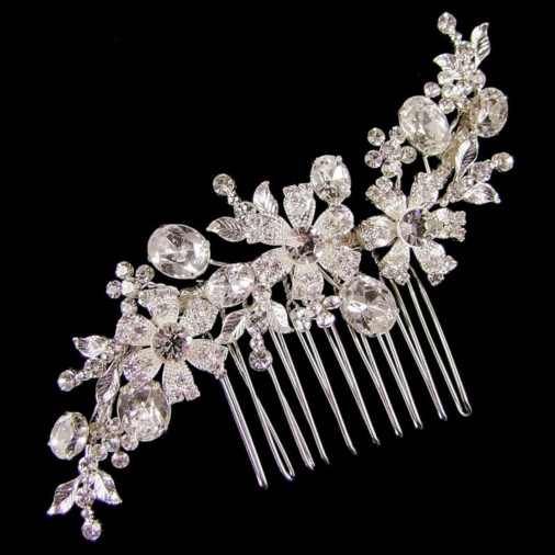 Anastasia Crystal Wedding Hair Comb 11cm (Silver)