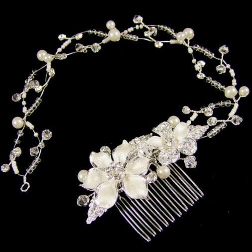 Clemenza Wedding Headband (Silver)