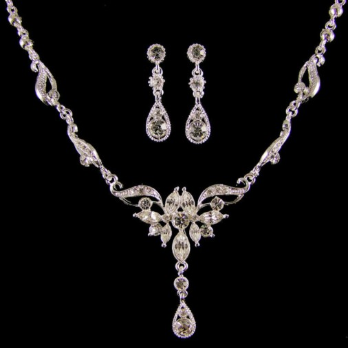 Angelica Wedding Necklace Set (Silver)