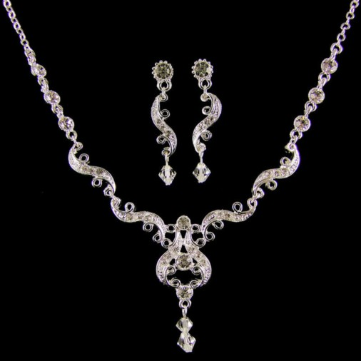 Margaret Wedding Necklace Set (Silver)