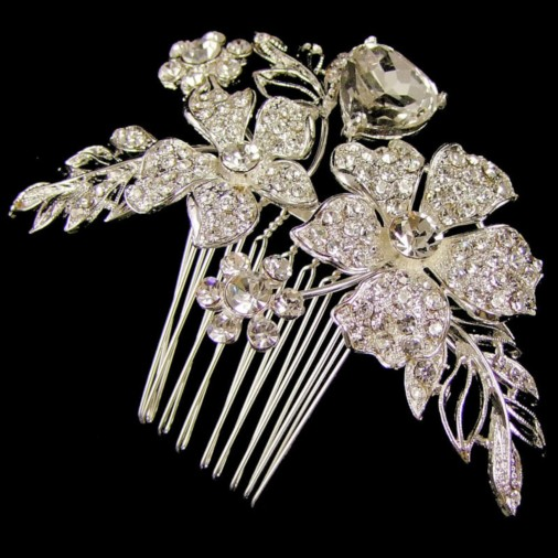 Beryl Sparkling Wedding Hair Comb 9cm (Silver)