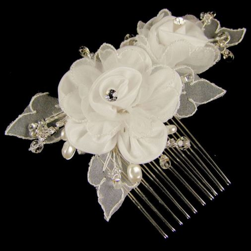 Kate Wedding Hair Comb (Silver/White)