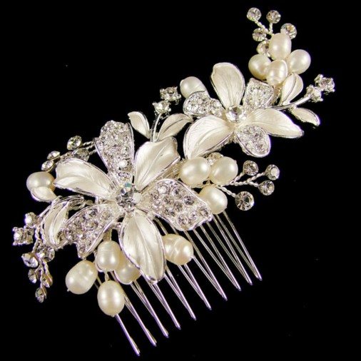 Luciana Bridal Flower Hair Comb 10cm  (Silver/Ivory)