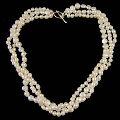 Eugenie Freshwater Pearl Triple Twisted Necklace16in
