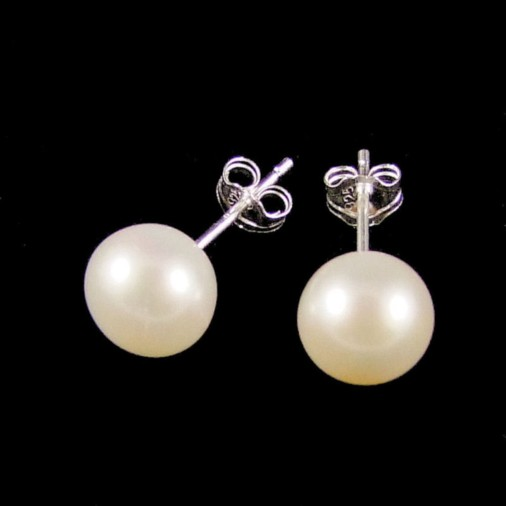 Mary Freshwater Pearl Silver Stud Earrings