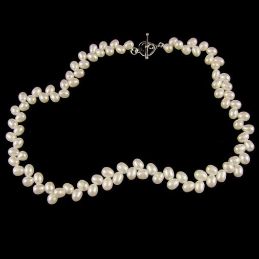 Belle Natural White Wheat Freshwater Pearl Necklace 18in