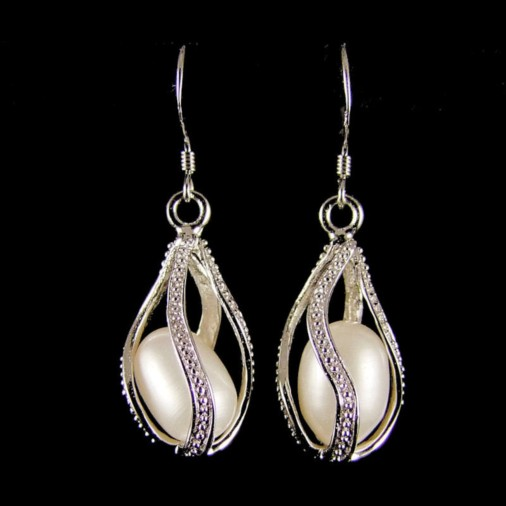 Bethany Sterling Silver Freshwater Pearl Cage Earrings