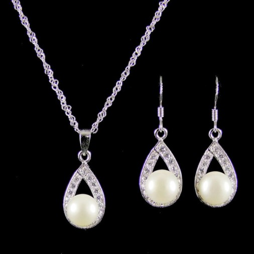 Iveta Sterling Silver Freshwater Pearl Necklace Set