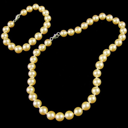 Aliona Shell Pearl Necklace & Bracelet Set Champagne