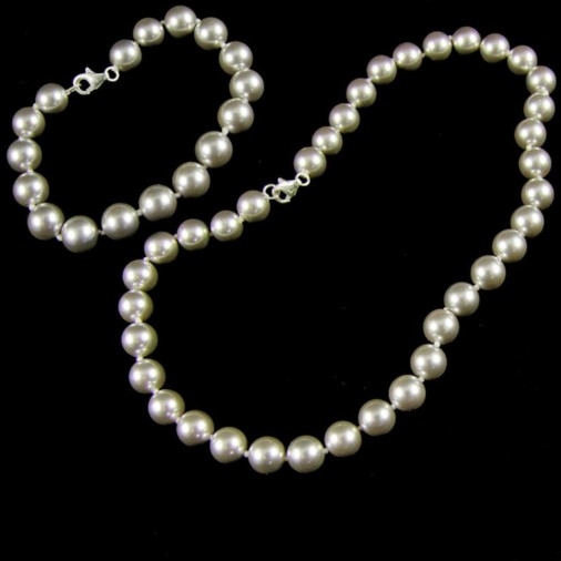 Aliona Shell Pearl Necklace & Bracelet Set Silver Grey