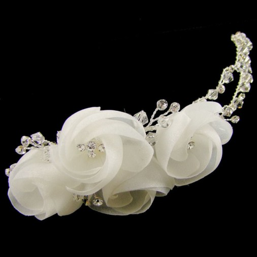 Letitia Ivory Flower Wedding Hair Clip (Silver)
