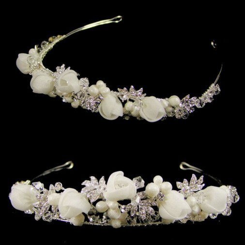 Jill Split Band Flower Wedding Tiara (Silver)