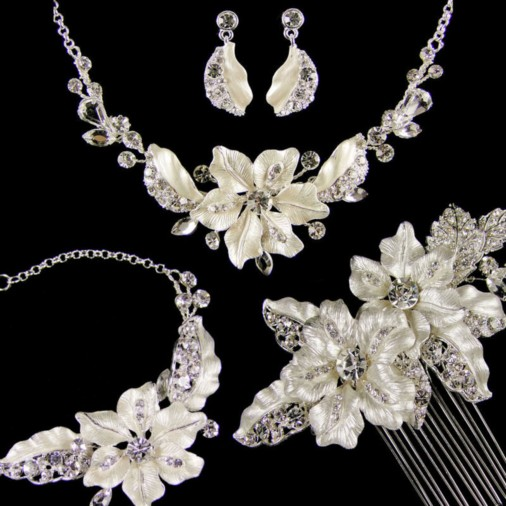 Adrienne Complete Wedding Jewellery Set (Silver)