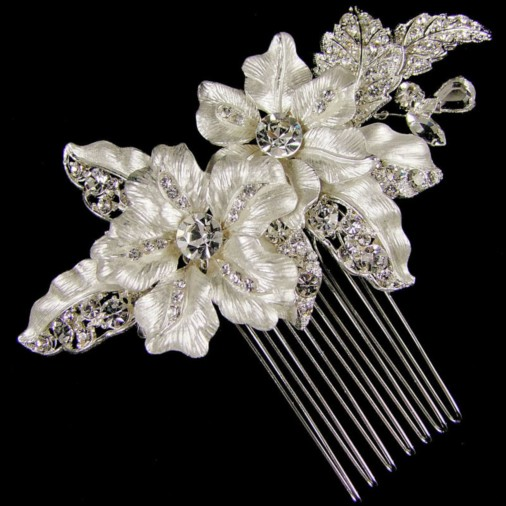 Adrienne Wedding Hair Comb (Silver)