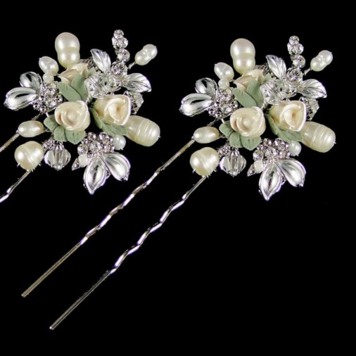 Laviniata Rosebud Wedding Hair Pins 2-Pack (Silver)