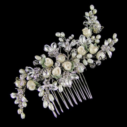 Laviniata Rosebud Wedding Hair Comb 11cm (Silver)