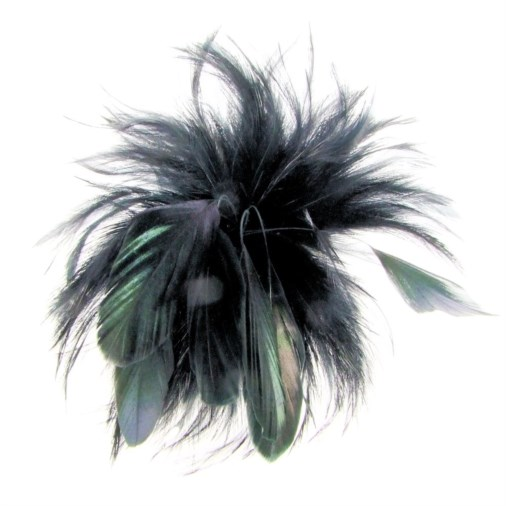 Cherry Feather Fascinator on Clip in Black
