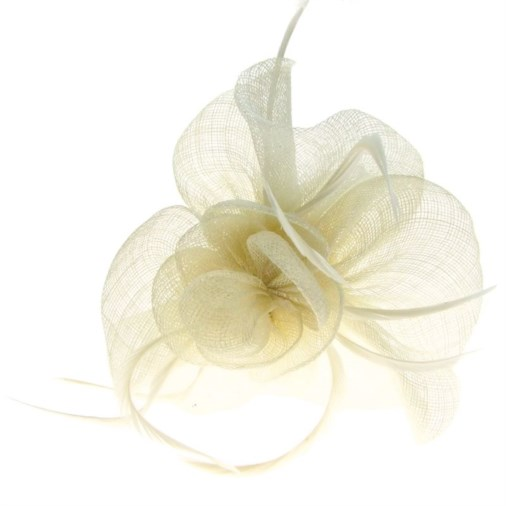 Barcelona Sinamay Fascinator on Band in Ivory
