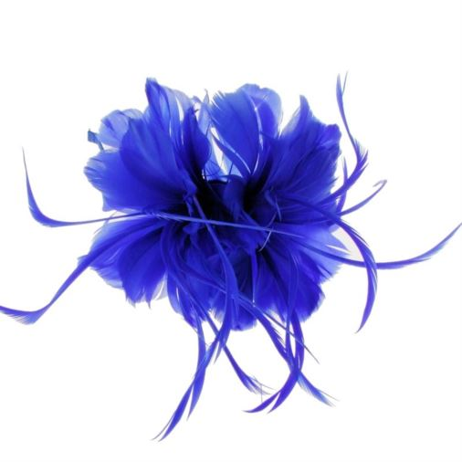Geneva Feather Fascinator on Band in Blue