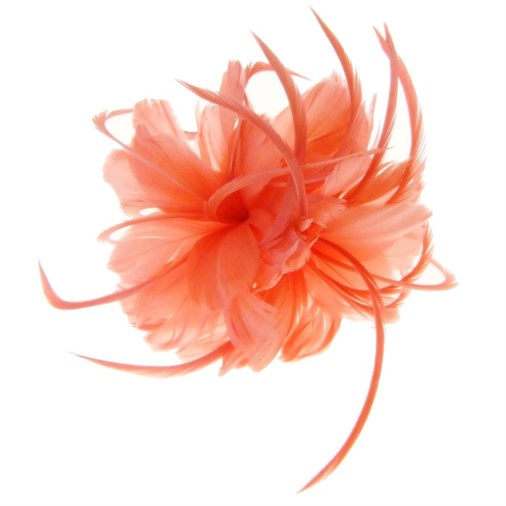 Geneva Feather Fascinator on Band in Coral